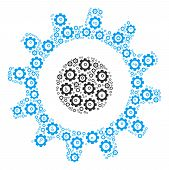 Cogwheel Collage Of Gear Icons. Vector Gear Items Are Grouped Into Cogwheel Shape. poster