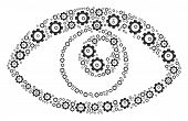 Eye Collage Of Cogs. Vector Gear Symbols Are United Into Eye Collage. poster