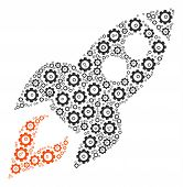 Space Rocket Launch Mosaic Of Vector Gears. Vector Gear Parts Are United Into Space Rocket Launch Sh poster