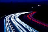 Night Traffic Trails On A German Highway, Motion Blur poster