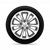 Realistic Car Tire Wheel Alloy With Tire Design Sport On White Background Vector Illustration. poster