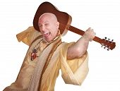 foto of swami  - Crazy bald guru holds guitar over white background - JPG