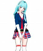 D Sexy Anime Doll Japanese Anime Schoolgirl Big Blue Eyes And Bright Makeup. Skirt Cage. Cartoon, Co poster