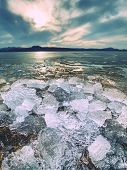 Climate Change. Detail Of Glacier Melting  In Bay. Spring Landscape With Melting Of Ice Floe. poster