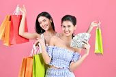 Shopping Concepts. Beautiful Girls Shopping In Department Stores. Beautiful Girl Happy To Shop. Asia poster