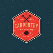Vintage Carpentry Logo. Retro Styled Wood Works Emblem, Badge, Design Element, Logotype Template. Ve poster