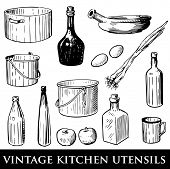 Vector set of vintage kitchen utensils