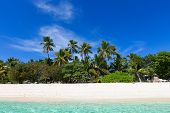 Pristine Empty Island At Fiji, South Pacific, With Blue Sky, Palm Trees, White Sand Beach And Turquo poster
