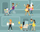 Happy Shopping People With Shopping Bags Illustration. Young Couple And Family With Child In Shoppin poster