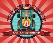 Cart Championship Or Auto Pilots Competition Illustration. Outdoor Auto Speed Racing, Extreme Kartin poster