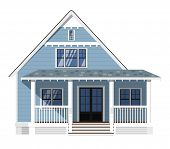 Exterior Of Family Home Isolated On White Background. Vacation House. Real Estate Design Element. Fa poster