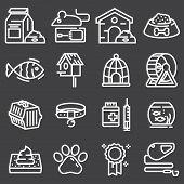 Thin Lines Web Icon Set - Pet, Vet, Pet Shop, Types Of Pets poster
