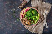 Vegan Buddha Bowl Dinner Food Table. Healthy Food. Healthy Vegan Lunch Bowl. Grilled Mushrooms, Broc poster