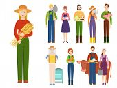 Farmer Workers People Character Agriculture Person Profession Farming Life Vector Illustration. Gard poster