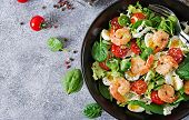 Healthy Salad Plate. Fresh Seafood Recipe. Grilled Shrimps And Fresh Vegetable Salad And Egg. Grille poster