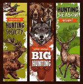 Hunt Club Sketch Banners For Hunting Open Season. Vector Design Of Hunter Prey Wild Animals Forest G poster