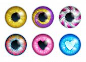 Fantasy Eyes Set - Assorted Colors. Iris Pupils Design. Color Contact Lenses. Colorful Eyes Realisti poster