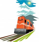 Train Traveling With Mountains In The Background poster