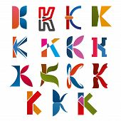Постер, плакат: K Letter Icons Template For Corporate Or Business Company And Brand Name Emblem Vector Letter K Set