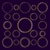 Vector Set Of Round Decorative Frameworks, Banners. Golden Geometric Frame poster