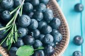 Close Up Fresh Wild Blueberries In Wooden Basket. Ripe Blueberry On Blue Wood Table In Top View With poster