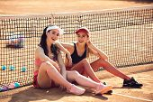 Wellness, Bodycare, Health, Healthcare. Women Athletes Relax On Tennis Court, Sport. Sport, Training poster