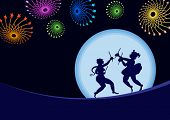 Garba Dancer & Fireworks in enening, Shadow Art