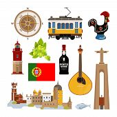 Historical Symbols Of Portugal Lissabon. Vector Icon Set In Flat Style. Portuguese Landmark, Lightho poster