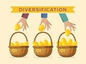 Business Concept Illustrations Of Diversification. Golden Eggs In Different Baskets. Vector Diversif poster