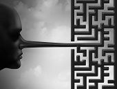 Investigate Fraud And Investigating Corruption Concept As A Liar With A Long Nose Shaped As A Maze O poster