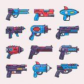Постер, плакат: Cartoon Gun Vector Toy Blaster For Kids Game With Futuristic Handgun And Raygun Of Aliens In Space I