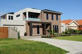stock photo of subdivision  - Modern family home on a new street Melbourne Australia - JPG