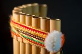 National Latin American Musical Instrument. Wind Instrument Of The Incas. Peruvian Flute. A Handmade poster