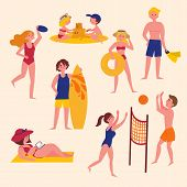 Sunny Day On The Beach. Summer Activities On The Beach. Sport And Leisure. Boy, Girl, Man, Woman, Su poster