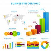 Business Infographic Vector Template With 3d Chart, Graphs And Diagrams. Data Visualization Financia poster