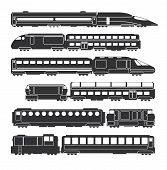 Trains And Wagons Black Vector Railway Cargo And Passenger Transportation Silhouettes. Train Transpo poster