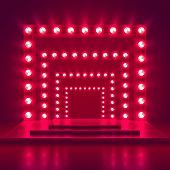 Retro Show Stage With Light Frame Decoration. Game Winner Casino Vector Background. Illuminated Of S poster
