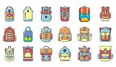 Backpack Icon Set. Cartoon Set Of Backpack Vector Icons For Web Design Isolated On White Background poster