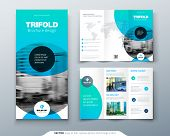 Tri Fold Brochure Design. Blue Business Template For Tri Fold Flyer. Layout With Modern Circle Photo poster