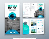 Tri Fold Brochure Design. Business Template For Tri Fold Flyer With Modern Circle Photo And Abstract poster