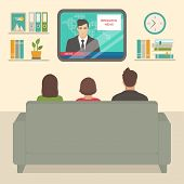 Vector Illustration Of  Family Tv Watching At Home, People Sitting On Sofa Watching Television In Ro poster