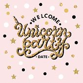 Welcome Unicorn Party Text Isolated On Pink Background. Hand Drawn Unicorn Party Lettering As Logo,  poster