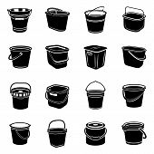 Bucket Types Container Icons Set. Simple Illustration Of 16 Bucket Types Container Vector Icons For  poster