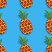 Pineappple Seamless Pattern. Ananas In Paper Cut Style. Origami Healthy Food On Blue. Summertime. Ve poster