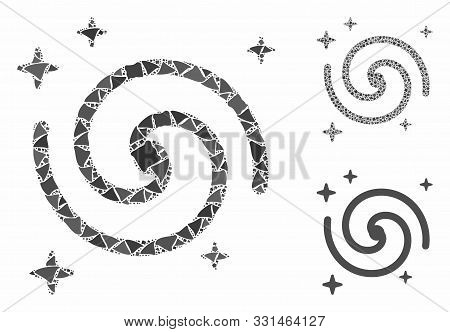 poster of Galaxy Mosaic Of Tremulant Items In Different Sizes And Color Tints, Based On Galaxy Icon. Vector Tr