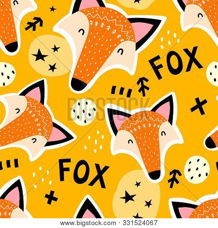 poster of Seamless Pattern With Cartoon Foxes, Lettering, Stars, Decor Elements On A Neutral Background. Vecto