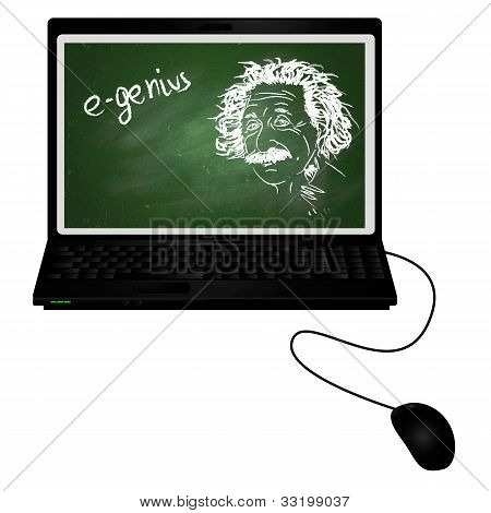 poster of E-genius/laptop With Albert Einstein Portrait With Chalk On Chalkboard On It Screen