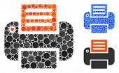 Print Composition Of Round Dots In Variable Sizes And Color Tints, Based On Print Icon. Vector Dots  poster