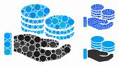 Salary Hand Composition Of Round Dots In Different Sizes And Color Tints, Based On Salary Hand Icon. poster