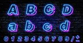 3d Neon Letters A-d. Neon Blue Font English. City Blue Font. Neon City Color Blue Font. English Alph poster